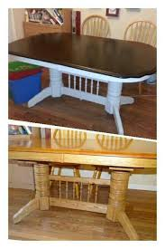 refinished dining table before and after general finishes java gel stain for the top and mystique by valspar for the base