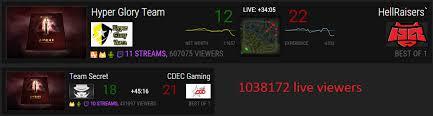 over 1 million live viewers watching dac dota2