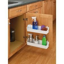 white kitchen cabinet door mount 2 shelf storage bin home organizer under sink