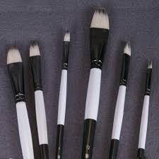 6pcs set qisxuan bristle blend oil painting brush thick hard brushes to paint acrylic paints