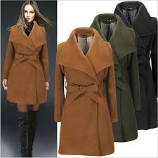 2019 wool overcoat women s clothes winter coat for las outerwear belt lape neck blend coat fashion casual coats misses wear trench coat s 2xl from
