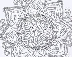 printable instant coloring book pages diy mandala wall art doodle flowers view