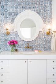 white and blue bathroom with fez blue vintage moroccan victorian encaustic effect pattern wall tiles