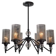 kenroy home chloe 6 light bronze chandelier with mercury glass shade