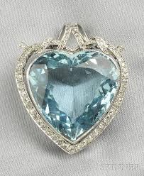 platinum aquamarine and diamond heart pendant