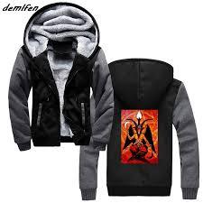 Us 22 48 25 Off Baphomet Satan Pentagram Devil Print Hoodie Men Thick Zipper Sweatshirt Cool Jacket Hoody Tops Harajuku Streetwear In Hoodies