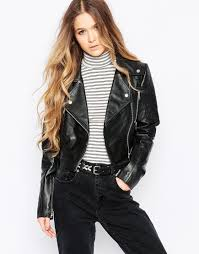 lyst barney s originals leather biker jacket with quilting and