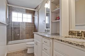 ... Remodeling Ideas Bathroom, Elegant Granite Countertops On Modern White  Vanity With Double Sink And Gold Colors Faucets ...