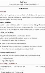 Example Of Bartender Resume Inspiration Bartender Resume Examples Formatted Templates Example