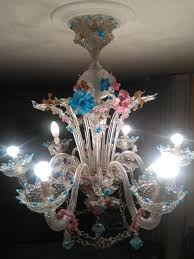 six light chandelier fiorito rezzonico made of blown glass and glass paste with wonderful
