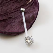 Bio Flex Maternity Belly Button Ring With Double Jeweled Prong