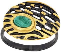 Серебряное <b>кольцо Балтийское золото 71711081-bz</b> c малахитом