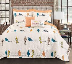 quilt sets qvc quilt set comforter bedding big size colorful birds shades white background in