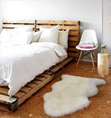 interior: Charming Fur Rug Created To Enhance Amazing Pallet Bed Ideas At  Traditional Bedroom Which