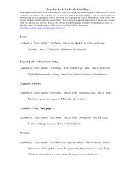 Mla Citation Template Template For Mla Works Cited Page Class