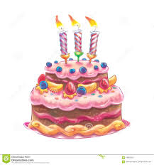 Cartoon Drawing Of A Pretty Cake With Three Candles Stock