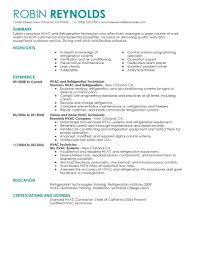 resume simple example hvac and refrigeration maintenance janitorial modern best resume
