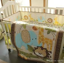 baby boy bedding set pure cotton 3d embroidery lion elephant giraffe and crocodile crib bedding set baby quilt bed around cot bedding bedding