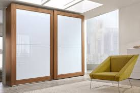 contemporary wardrobe solid wood glass lacquered glass