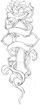 Cross And Rose Line Drawing By
