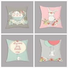 <b>Watercolor</b> Cute <b>Fox Rabbit</b> Print Linen Throw Pillow Sofa Waist ...