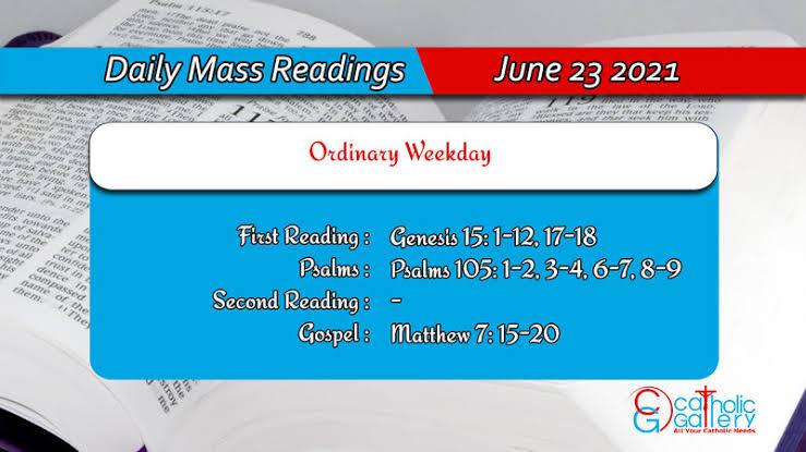 Catholic 23 June 2021 Daily Mass Readings for Wednesday