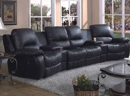 black leather sectional sofa with recliner dubious stylish reclining home theater decorating ideas 23