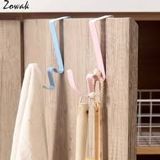 Us 4 74 5 Off 2pcs Over Door Hanger Hook Pocket Chart Hanging Hooks Metal Space Saving Organizer For Coat Towel Bag Robe Clothes Storage Rack In