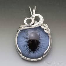 blue glass cat eye eyeball sterling