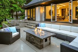 modern patio fire pit. Modern Patio Design With Firepit And Water Feature Also Black L Shaped Rattan Sofa Set Fire Pit P