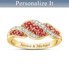 Lavish 18K Gold Plated <b>Romance Ruby</b> & Diamond Personalized ...