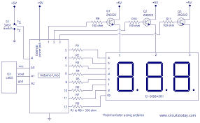 digital temperature controller circuit diagram the wiring diagram digital thermometer using arduino celsius and fahrenheit scales circuit diagram