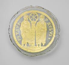 jewish art in late antiquity and early byzantium essay   bowl base saints peter and paul flanking a column the christogram of christ