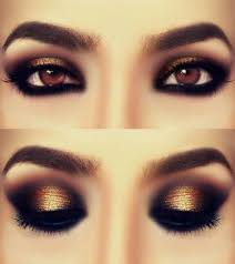 black bronze and gold eye makeup love this but it d probably just make me look like i have a shiny black eye lol