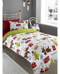 this adorable reindeer brushed cotton single duvet cover set will add a touch of festive