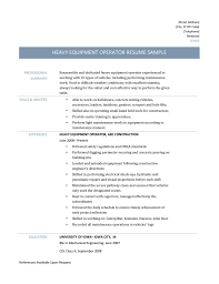 Heavy Equipment Operator Resume 19 Samples Tips And Templates