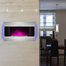 wall mount electric fireplace heater in stainless steel with tempered glass pebbles