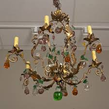 french six light chandelier with colored glass fruit for