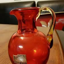pilgrim glass red pitcher hand blown vintage hand blown glass re