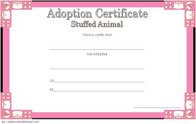 Pet Adoption Certificate Template Stuffed Animal Adoption Certificate Template Free One Package