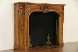 country french hand carved vintage pine fireplace mantel