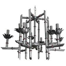 silver chinoiserie faux bamboo chandelier for