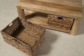 dakota light mango large coffee table with baskets 2