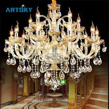 k9 crystal candle chandelier light fixture luxury lampara de arana for living room hotel ac110v 240v 6 8 10 12 15 18 arms seeded glass pendant light