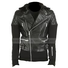justin bieber black leather quilted jacket with hoo
