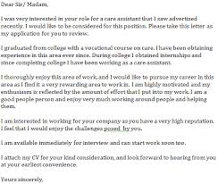 Care Assistant Cover Letter Example Learnist Org