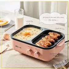 Bếp Lẩu Điện Mini 2 Ngăn Chống Dính Đa Chức Năng Nồi Lẩu Nướng 2 ngăn- Bếp  lẩu nướng mẫu mới đa năng