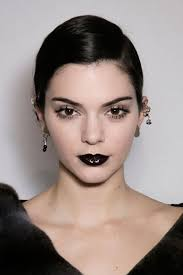 christian dior paris fashion week black glossy lip on kendall jenner with chunky eye lashes