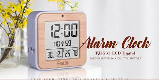 fanju fj3533 lcd digital alarm clock with indoor temperature and humidity dual alarm battery operated snooze