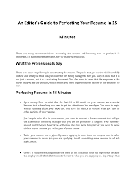 What Should Not Be Included In A Resume How To Perfect Your Resume In 15 Minutes Pages 1 4 Text